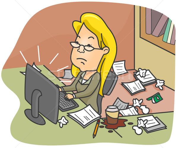 Kirli ofis örnek kadın çalışma işçi Stok fotoğraf © lenm