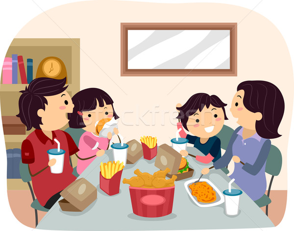 Stickman Family Home Fast Food Dinner/ Stock photo © lenm
