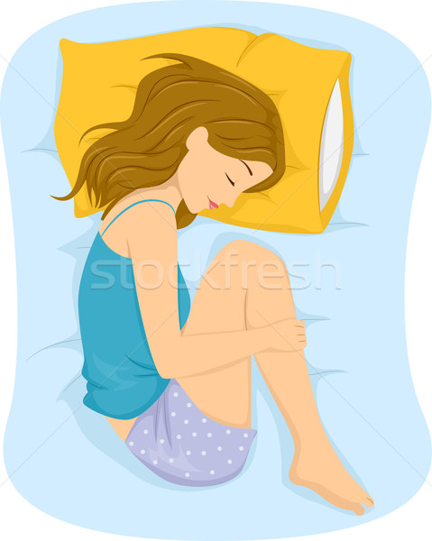 Girl Sleep Position Fetal Stock photo © lenm