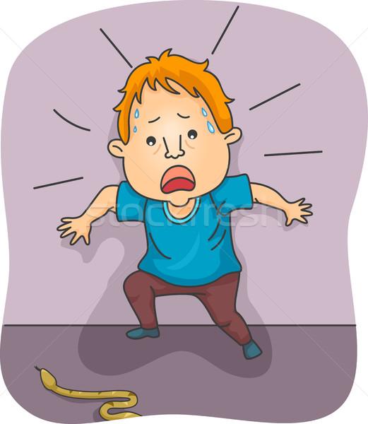Férfi ijedt kígyó illusztráció félelem férfi Stock fotó © lenm