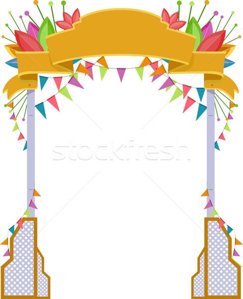 üdvözlet ív fesztivál illusztráció művészet rajz Stock fotó © lenm