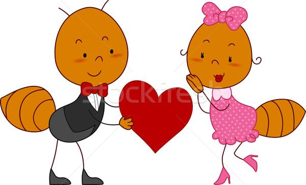 Hangya pár illusztráció férfi szív női Stock fotó © lenm