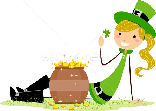 Girl Sitting Beside a Pot of Gold Stock photo © lenm