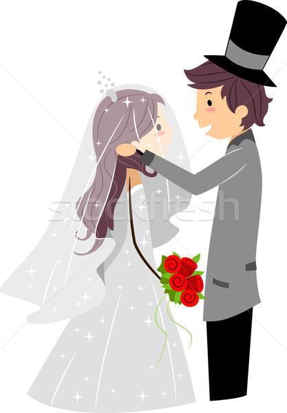 結婚式 ベール 実例 新郎 花嫁 ストックフォト © lenm