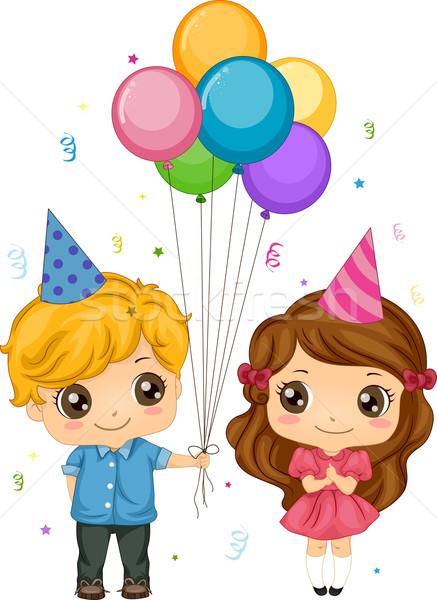 Jongen ballonnen illustratie meisje partij kinderen Stockfoto © lenm