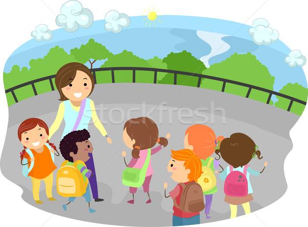 Wycieczka dzieci ilustracja nauczyciel na zewnątrz dziewczyna Zdjęcia stock © lenm