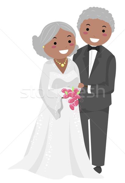 Senior Couple Wedding Stickman Stock photo © lenm