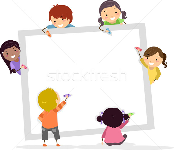 Kinder Buntstifte Platz Bord Illustration schriftlich Stock foto © lenm