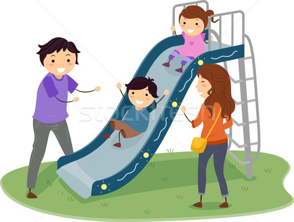 Aile oyun alanı slayt örnek oynayan çocuklar çocuklar Stok fotoğraf © lenm