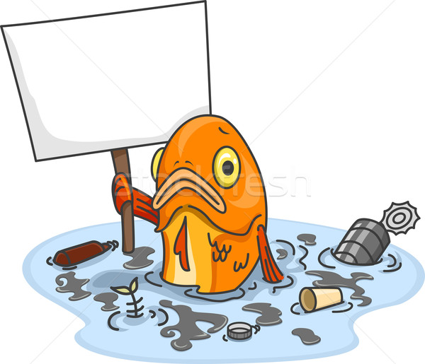 Sad Fish in Polluted Water With Blank Board Stock photo © lenm