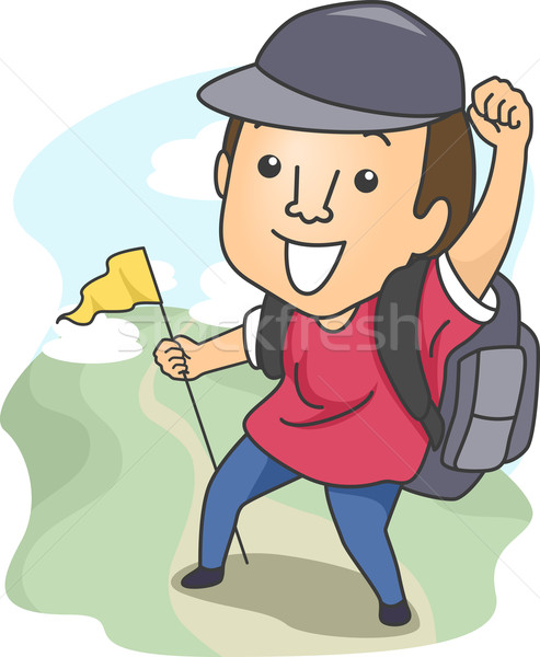 Mann heraus Wandern Illustration camping Gang Stock foto © lenm