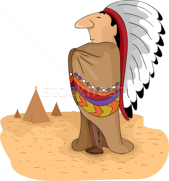 Native American Tribal Chief Stock photo © lenm