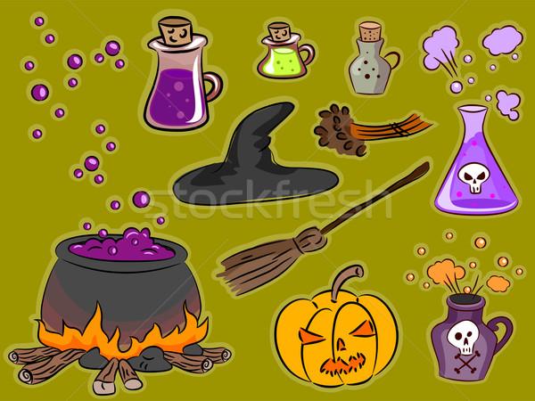 Bruxaria projeto elementos ilustração famoso halloween Foto stock © lenm