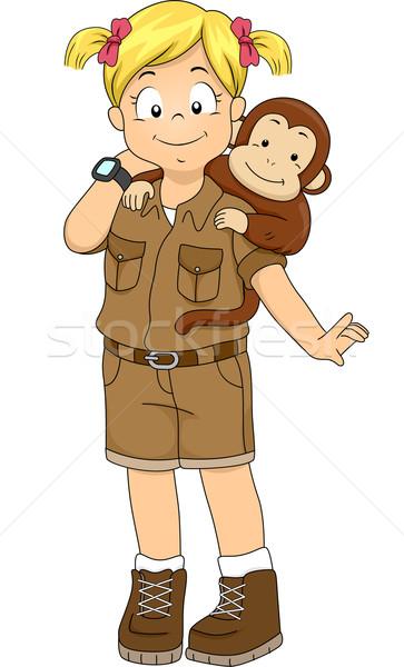 Safari fille singe illustration Retour Kid Photo stock © lenm
