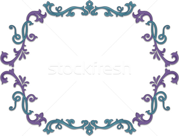 цветочный винограда кадр иллюстрация синий цифровой Сток-фото © lenm