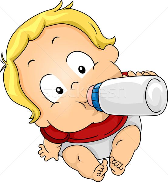Boy Drinking Milk Stock photo © lenm