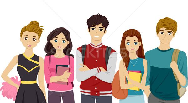 Főiskola illusztráció diákok különböző tini digitális Stock fotó © lenm