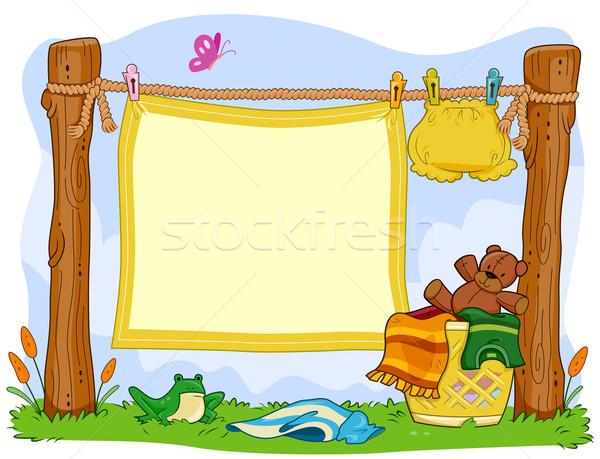Stok fotoğraf: çamaşırhane · çerçeve · battaniye · asılı · kurbağa · karikatür
