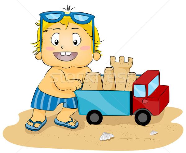 Homokvár teherautó illusztráció fiatal srác toló játék Stock fotó © lenm