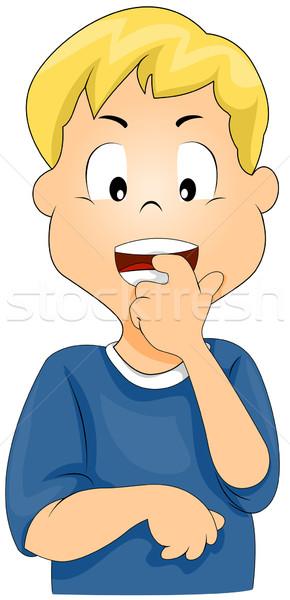 Beißen Fingernägel Illustration Junge Kind männlich Stock foto © lenm