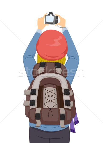 Menina fotos ilustração feminino backpacker Foto stock © lenm
