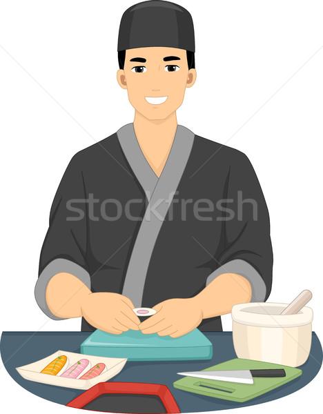 Man Sushi Chef Stock photo © lenm