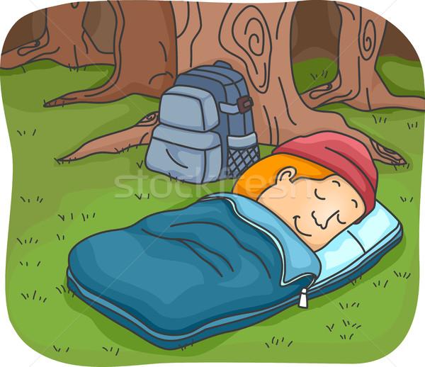 Man Sleeping Bag Stock photo © lenm