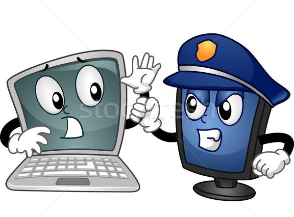 Mascot Laptop Online Security Stock photo © lenm