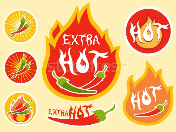 Baharatlı sıcak çili etiket örnek hazır Stok fotoğraf © lenm