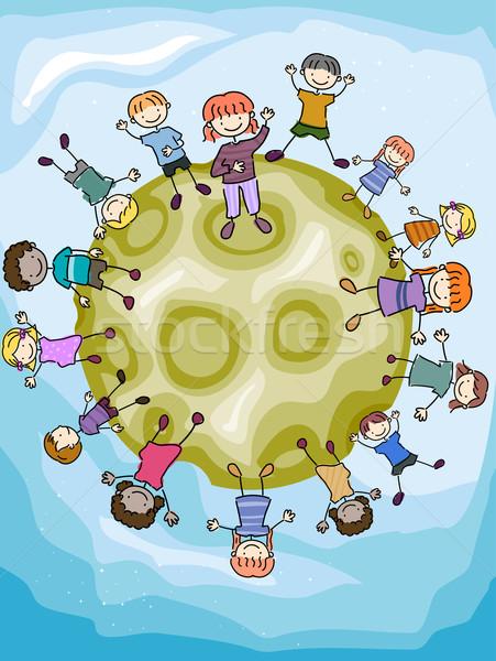 Stock fotó: Gyerekek · hold · illusztráció · felület · lány · gyerekek