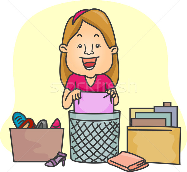 Girl Organizing Her Things Stock photo © lenm