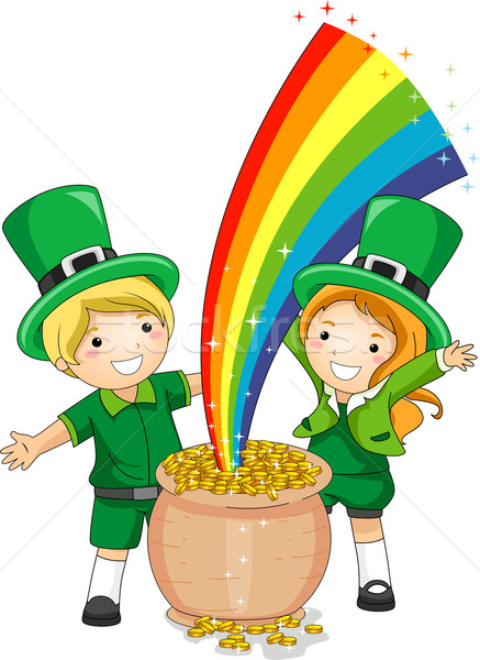Kids Standing in Front of a Pot of Gold Stock photo © lenm