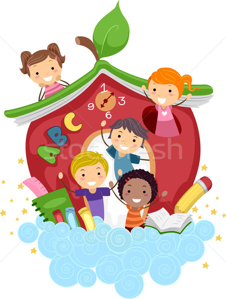 Apple school vector illustration lenm 1170115 for Aprendiendo y jugando jardin infantil