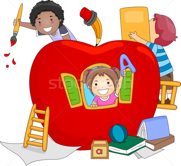 Stock foto: Vorschule · Kinder · Illustration · Kinder · spielen · innerhalb · Riese