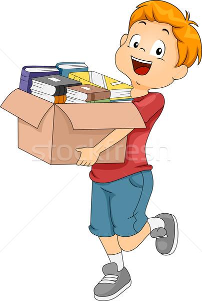 Doboz könyvek illusztráció gyerek hordoz tele Stock fotó © lenm