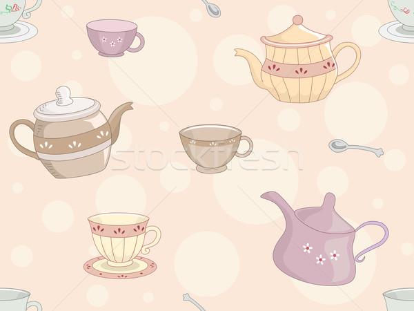 Tea Set Background Stock photo © lenm