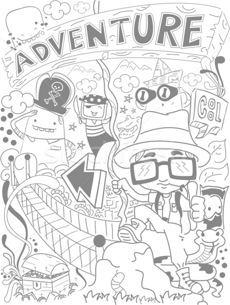 Doodle aventure illustration fond noir noir et blanc Photo stock © lenm