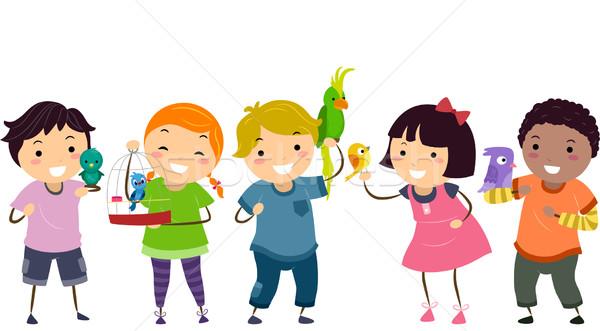 Dzieci domowych ptaków ilustracja dziewczyna dziecko Zdjęcia stock © lenm