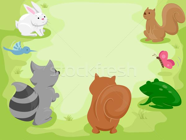 állat gyűlés illusztráció aranyos kicsi állatok Stock fotó © lenm