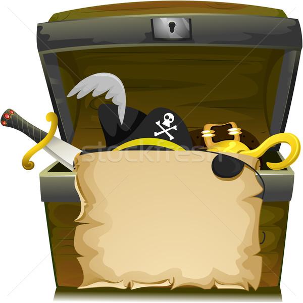 Piraat schat hoed illustratie schatkist lege Stockfoto © lenm