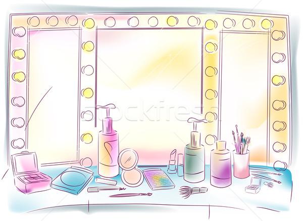 тщеславие зеркало весело цветами макияж духи Сток-фото © lenm