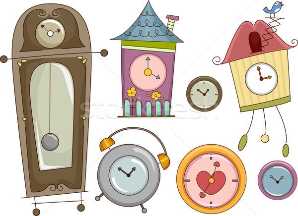 Klok ontwerp communie illustratie kleurrijk klokken Stockfoto © lenm