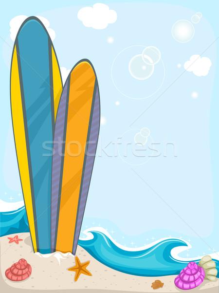 Szörfdeszkák háttér illusztráció színes nyár homok Stock fotó © lenm