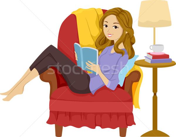 Girl Reading Book Stock photo © lenm