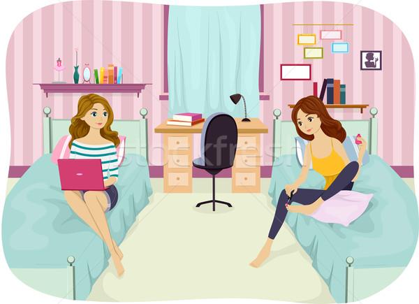 女 室友 插圖 享受 因特網 青少年 商業照片 © lenm