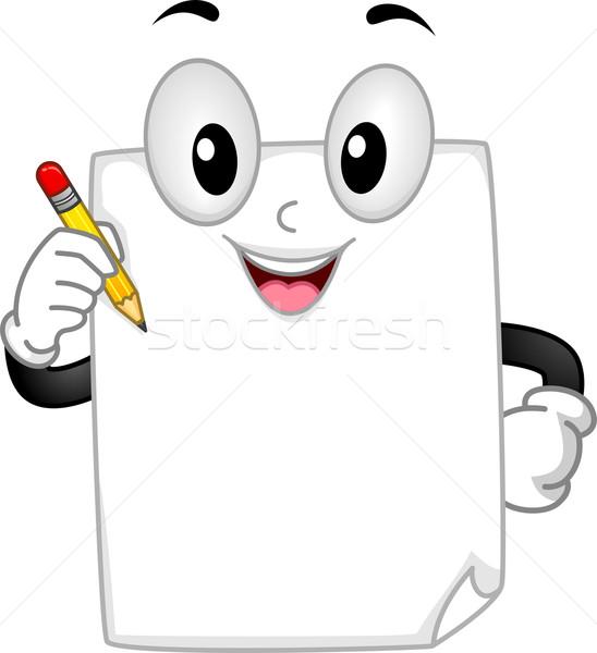 Escrita mascote ilustração peça papel Foto stock © lenm