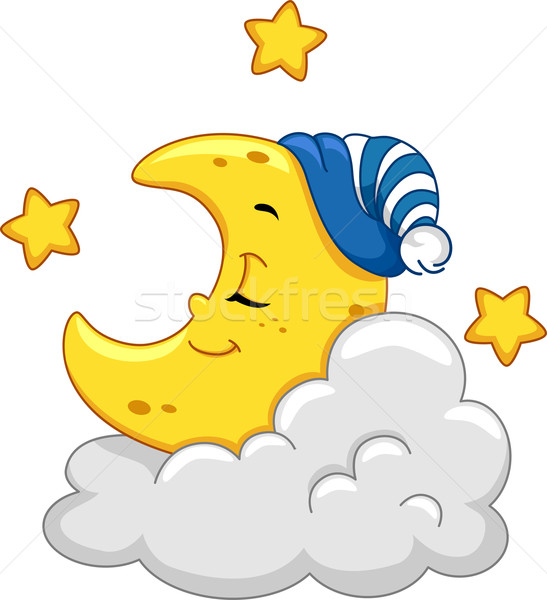 Lune mascotte illustration dormir nuage dormir Photo stock © lenm