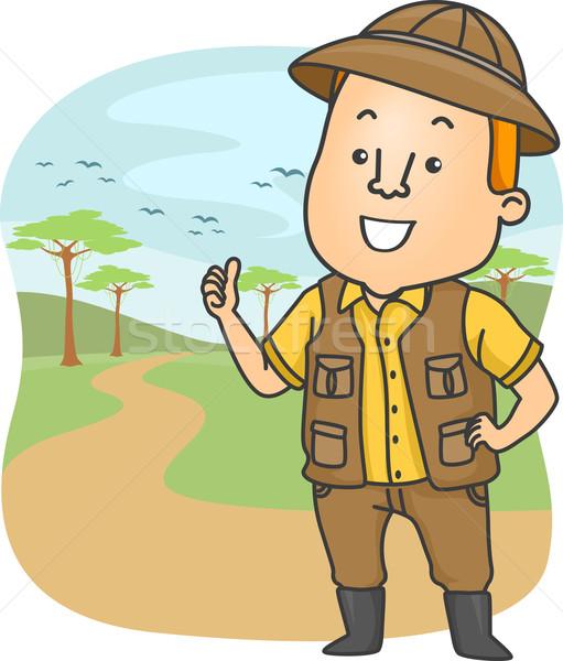 Safari gira orientar ilustración Trabajo masculina Foto stock © lenm