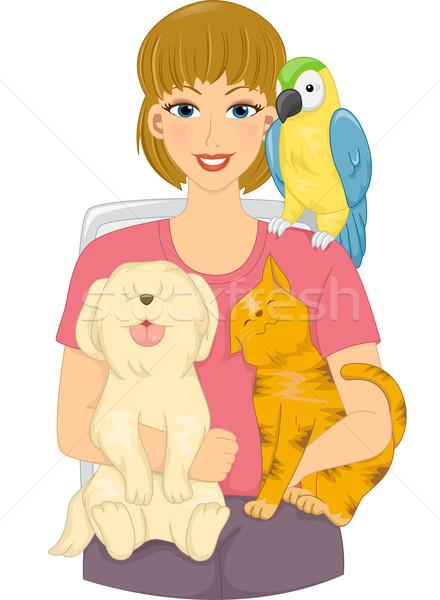 Pet Loving Girl Stock photo © lenm