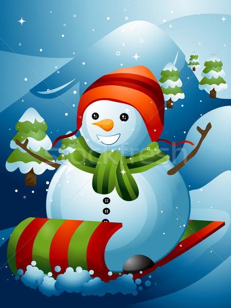 Sneeuwpop illustratie beneden berg helling sneeuw Stockfoto © lenm